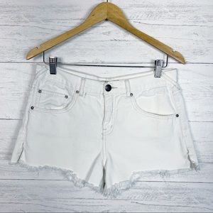 Free People • White High Rise Jean Shorts 29
